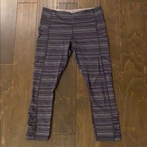 Navy striped lululemon cropped pants in size 8